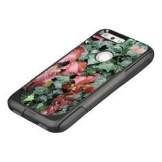Beautiful autumn fall red green ivy leaves OtterBox commuter google pixel case by #PLdesign #phonecase #customizable #gift
