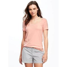 Old Navy Womens Classic Semi Fitted Tee ($15) ❤ liked on Polyvore featuring tops, t-shirts, just peachy, petite, scoop neck t shirt, red t shirt, jersey t shirt, stretch t shirt and short sleeve scoop neck tee