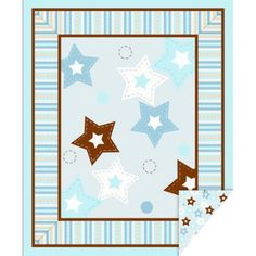 """Baby Boy Stars 43"""" Double Face Quilt Cotton Fabric Print"""
