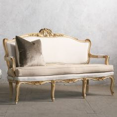 One of a Kind Vintage Settee Louis XV Cream Gilt