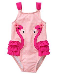 Toddler Girls Pink Flamingo Flamingo 1-Piece Swimsuit by Gymboree