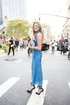 Helena Bordon spotted wearing the Jimmy Choo ROSANA pump at #NYFW