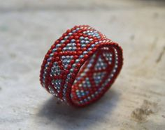 Blue and black ring Wide band ring Seed bead ring by HappyBeadwork