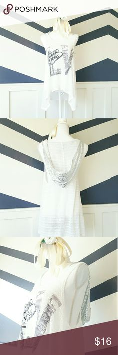 Vegas Lace Tank with Sequin Hood Mesh Lace Tank top with wide sleeveless shoulders. Large sequin tank, color in silver. Tank is an extra large but fits a large comfortably. Tank is meant to be loose light and flowey! Tops Tank Tops