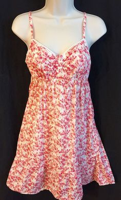 Old Navy Intimates Women's Pink Floral Babydoll Nightgown Medium 100% Cotton M  | eBay