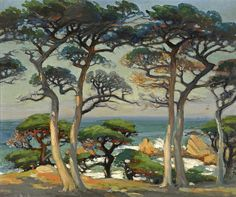 """""""Monterey Cypress on the Shore,"""" Mary DeNeale Morgan (att.), oil on Masonite, 20 x private collection Monterey Cypress, Different Forms Of Art, Expressive Art, Watercolor Trees, Impressionist Art, Mural Painting, Learn To Paint, Minimalist Art, Tree Art"""