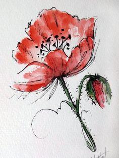 Original Watercolor Art Red Poppy Flower Hand Painted Poppy Flower Red Painting by Watercolor Poppies, Red Poppies, Watercolor And Ink, Watercolor Paintings For Beginners, Watercolor Art Paintings, Art Rouge, Plant Drawing, Drawing Flowers, Diy Canvas Art