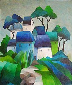oil painting by Gisela Funke Art Fantaisiste, Naive Art, Art Abstrait, Whimsical Art, Art Techniques, Landscape Art, Painting Inspiration, Art Lessons, Painting & Drawing