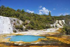 Rainbow terrace at Orakei Korako Geyserland (The Hidden Valley) on the Waikato River banks.