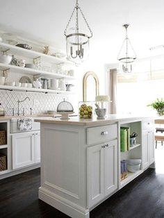 White kitchen with open shelving & white Moroccan tile backsplash. All White Kitchen, New Kitchen, Kitchen Dining, Kitchen Decor, 1970s Kitchen, Tudor Kitchen, Kitchen Ideas, Dining Table, Kitchen Countertops