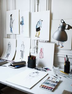 Fashion illustrations by illustrator Leo Greenfield at his temporary workspace whilst in residence at the Paris atelier of Australian fashio...