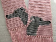 Pastel pink scarf with gray greyhounds by hooknsaw on Etsy, $34.00