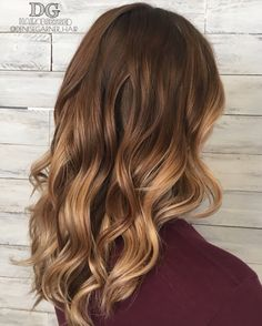 Warm balayage with long hair, brown to blonde, ombre, fall hair color, summer hair color, red balayage, blonde hair, balayage, Utah hair, loose curls, perfect fall balayage, cute hairstyles, pretty hair color