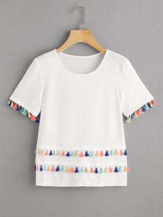 T-Shirts by BORNTOWEAR. Tiered Tassel Trim T-shirt