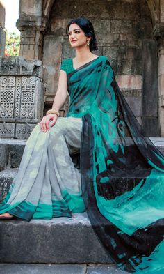 Shop Grey and Green Printed Saree Online at IshiMaya Fashion - SAPLPGT4012