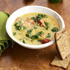 Red Lentil and Chorizo Soup.  I think I would swap the spinach for kale, adding it at the beginning ..