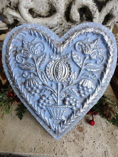 Primitive BLOOMING HEART Christmas Ornament in by BlackRockFolkArt, $24.00
