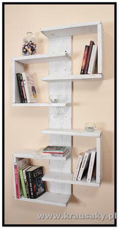 """Półka naksiążki""""Qube"""" Półka na książki """"Qube"""". Idealna do pokoju dziecięcego. Doskonale nadaje się do wyeksponowania swoich zbiorów książek, płyt i pamią , meble i dekoracje z drewna, z desek, shabby, vintage, rustykalne, loft, industrial, rustic"""