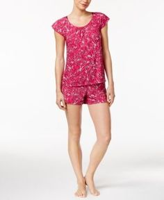 Alfani Printed Flutter-Sleeve Top and Boxer Shorts Pajama Set, Only at Macy's - Pink XXXL