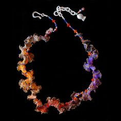 Wave: Leis, Pearl Necklaces, MIni Necklaces, Pendants -   Mary Darwall Jewelryone of a kind hand needle-woven sculptural beaded jewelry