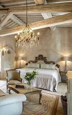 Stunning master bedroom   rustic mixed with a shabby chic design idea  Love  the pallet  exposed wood beams and vaulted ceiling and LOVE the bedroom  French Country Bedroom Refresh   French country bedrooms  Bedrooms  . French Country Master Bedroom Ideas. Home Design Ideas