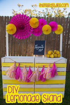 Easy to make lemonade stand from four crates.  Or, repurpose a couple of pallets.