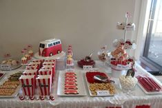 RED and white Kombi Van Birthday Party Ideas | Photo 28 of 51