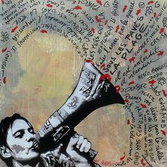 """Oeuvre de Jef Aérosol (Jean-François Perroy 1957) artiste pochoiriste français issu de la première vague de """"street art"""" du début des années 80."""