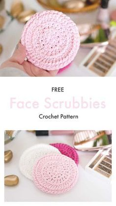 DIY Crochet Face Scrubbies FREE Pattern Boise Idaho Domestic Bliss Squared You can make these reusable crochet face scrubbies in about 15 minutes! This FREE pattern makes the perfect easy, DIY gift for anyone (even yourself! Diy Crochet Face Scrubbies, Scrubbies Crochet Pattern, Crochet Faces, Crochet Dishcloths, Crochet Edgings, Crochet Motif, Crochet Shawl, Crochet Simple, Crochet Diy