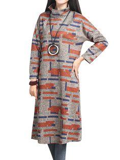 Vintage Printing Long Sleeve Turtleneck Loose Wool Dress at Banggood