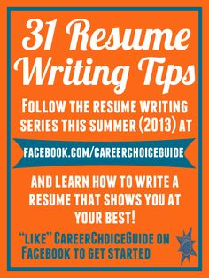 Learn to write a winning resume this summer (2013). I am featuring resume writing tips all summer on Facebook. Like to follow the resume writing series here: http://www.facebook.com/careerchoiceguide