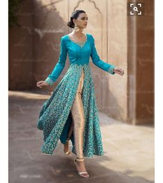 Anarkali with slit... Color combo could be pistachio with hot pink or firozi with pink