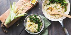 Sweet Corn Risotto with Lemon Parmesan Broccolini & Chervil