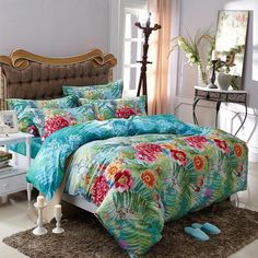 Aqua Blue Green and Red Tropical Fern Botany and Flower Print Sun Seed Fresh World Style Cotton Full, Queen Size Bedding Sets Bed Linens Luxury, Tropical Bedding, Cool Beds, Bed, Blue Green Bedrooms, Yellow Bedding Sets, Beautiful Bedding, Bedding Sets, Bed Linen Australia