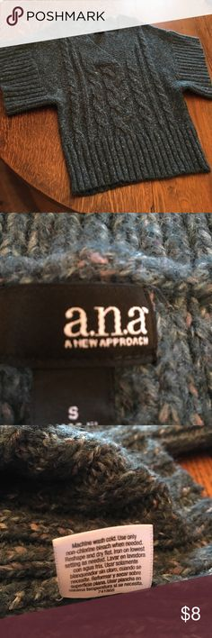 a.n.a. Sweater heathery dark teal size S a.na. Short-sleeved sweater v-neck... dark teal-ish color with heathery light rose and cream colored yarns... only worn a few times, lots of wear left! a.n.a Sweaters Cardigans