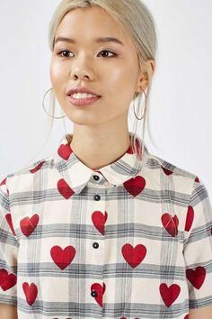Crop Heart Check Shirt