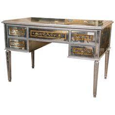 Maison Jansen Verre Églomisé French Mirrored Desk or Vanity | From a unique collection of antique and modern desks at https://www.1stdibs.com/furniture/storage-case-pieces/desks/