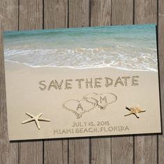 Beach Wedding Save The Date, Beach Wedding Save The Date Postcard, DIY  Printable Invitation