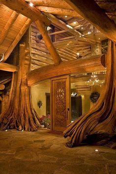 casas de madeira tronco de arvoreoriginal