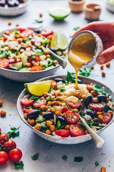 Mediterranean couscous salad with chickpeas and tahini dressing. Mediterranean couscous salad with chickpeas and tahini dressing. Chicken Salad Recipes, Healthy Salad Recipes, Vegetarian Recipes, Vegan Vegetarian, Vegan Raw, Vegan Food, Tahini Dressing, Salad Dressing, Couscous Salad With Chickpeas