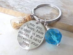 Beach Key Chain, Beach Wedding Favor, May You Always Have a Shell in Your Pocket & Sand Between Your Toes, Beach House Key, Beach Key Holder on Etsy, $10.85 AUD
