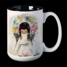 """DeGrazia® Ceramic Mugs - """"Flower Girl Mug"""". These beautiful DeGrazia® Ceramic Mugs stand 4 1/2″ tall with a 3″ diameter and hold 15 oz. of liquid. There is a DeGrazia® print on two sides along with his signature. The inside is finished with a black glaze. These mugs can be used for either hot or cold beverages.  $21.95"""