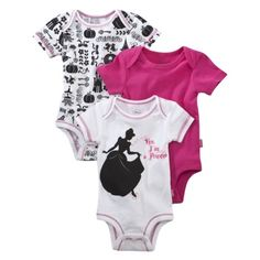 """I actually really like the high-contrast black and white print with the pink trim in the back.  But the """"Yes, I'm a princess"""" onesie is both unattractive and a silly thing to want to """"say"""" on behalf of your daughter."""