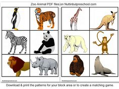 » Zoo Animal Printables For Block Corner or Matching Game Nuttin' But Preschool
