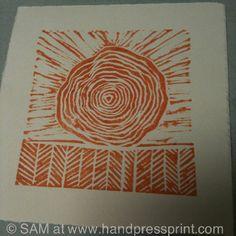 Tree field, Lino print, hand press print