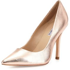 Charles David Swayy II Metallic Leather High-Heel Pump ($83) ❤ liked on Polyvore featuring shoes, pumps, heels, rosegold, charles david shoes, leather pointy toe pumps, metallic pointed toe pumps, pointy-toe pumps and leather pumps