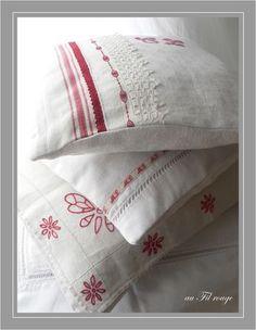 embellished linen pillows. redwork.