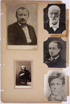 An album page of André Breton featuring a portrait of Victor Hugo, Gérard de Nerval, Arthur Rimbaud, Charles Baudelaire, and Auguste de Villiers de L'Isle-Adam by Féliz Nadar.