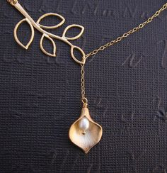 Calla Lily Necklace Lariat Necklace Gold Fill by DanglingJewelry, $28.00