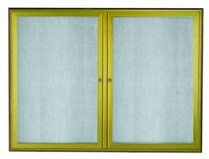 OWFC3648LB. Enclosed Bulletin Board with Aluminum Waterfall Style Frame. Frame is Antique Brass. Back Panel is Neutral Burlap Weave Vinyl. 36″Hx48″W. Two  Door